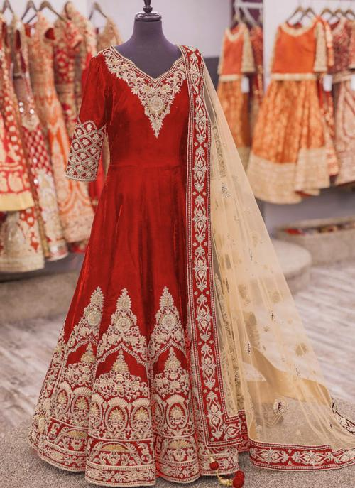 Party Wear Red Banglori Silk Heavy Embroidery Work Anarkali Suit