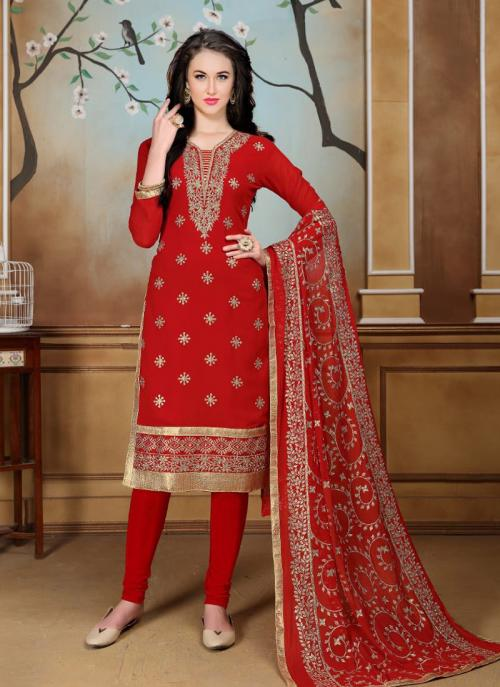 Party Wear Red Faux Georgette Heavy Embroidery Work Churidar Style