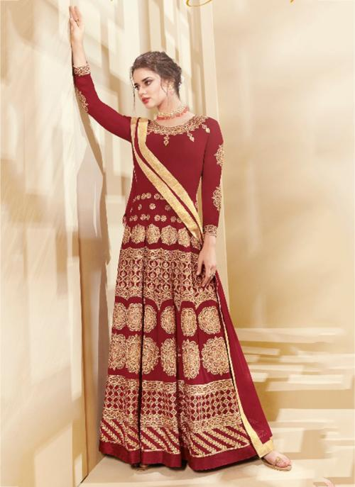 Party Wear Red Georgette Embroidery Work Anarkali Style
