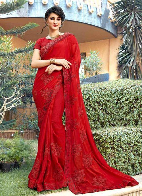 Party Wear Red Georgette Embroidery Work Saree