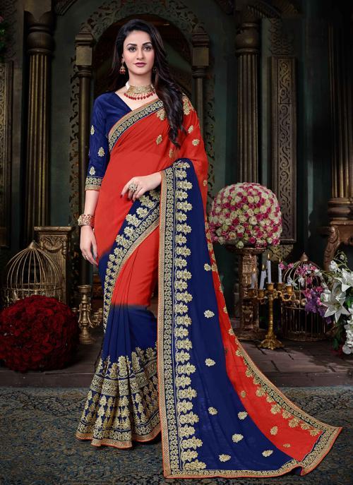 Party Wear Red Georgette Silk Zari Embroidery Work Saree