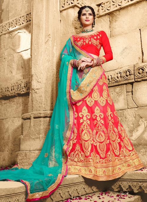 Party Wear Red Net Zari Embroidery Work Lehenga Choli