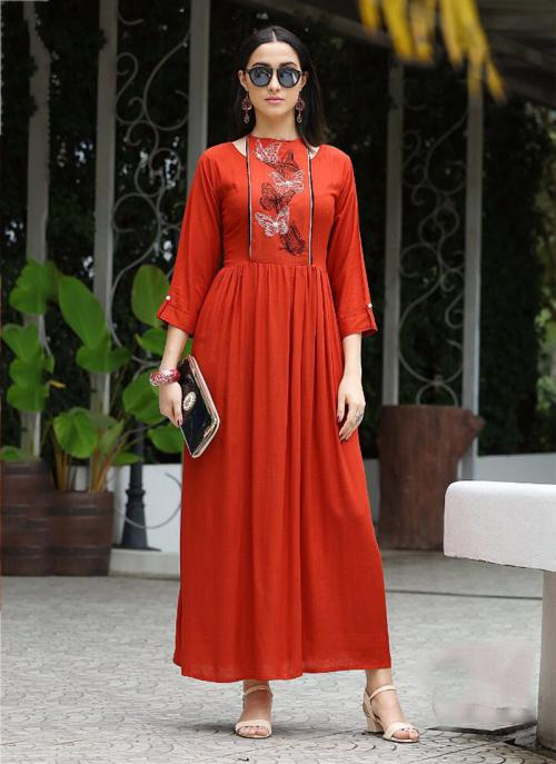 Party Wear Red Rayon Embroidery Work Kurti