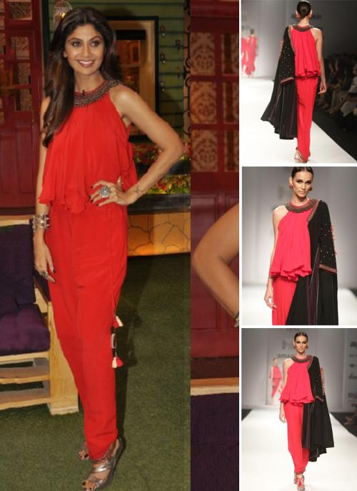 Party Wear Red Satin Antique Work Shilpa Shetty Designer Jumpsuit