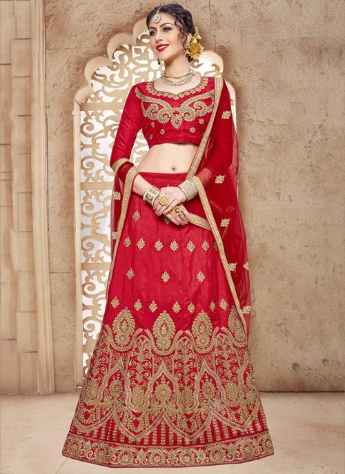 Party Wear Red Silk Embroidery Work Lehenga Choli