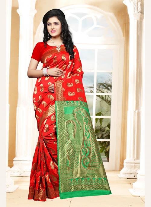Party Wear Red Silk Zari Work Saree