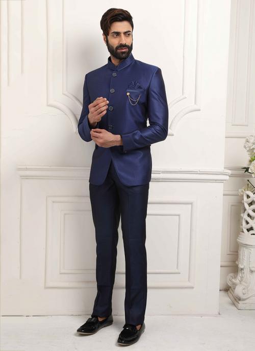 Party Wear Royal Blue Jodhpuri Fancy Work Jacket And Pant