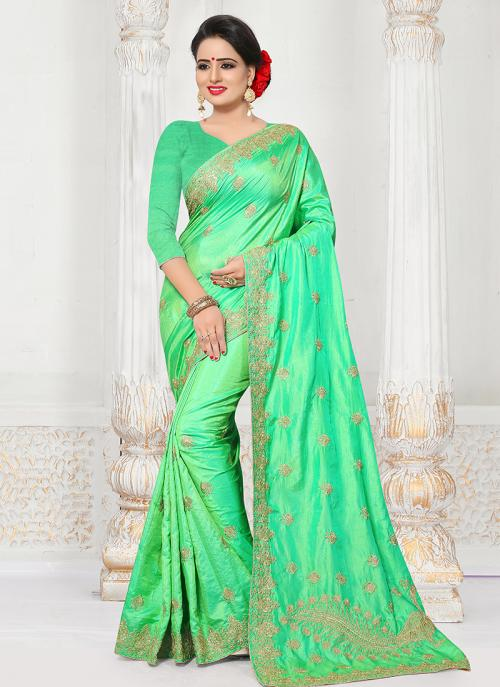Party Wear Sea Green Silk Embroidery Work Saree