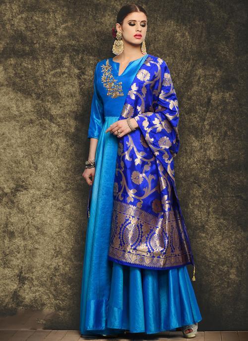 Party Wear Sky Blue Mastani Silk Patch Work Anarkali Suit