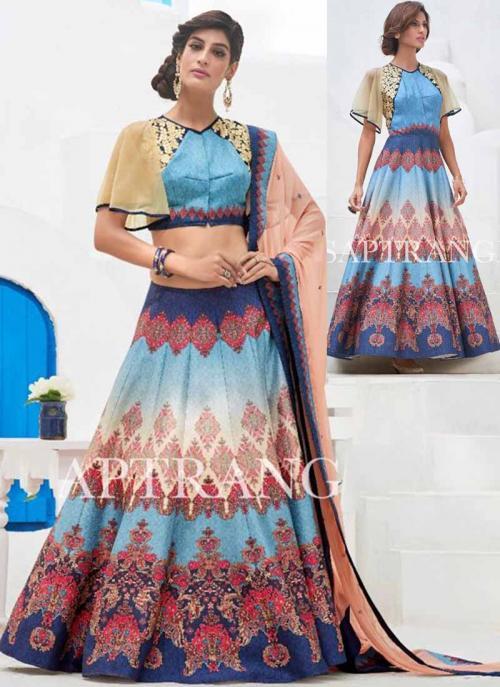 Party Wear Sky Blue Silk Embroidered Work Lehenga Choli
