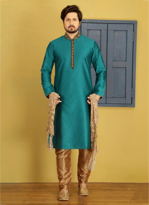 Party Wear Teal Banarasi Silk Embroidery Work Sherwani Style