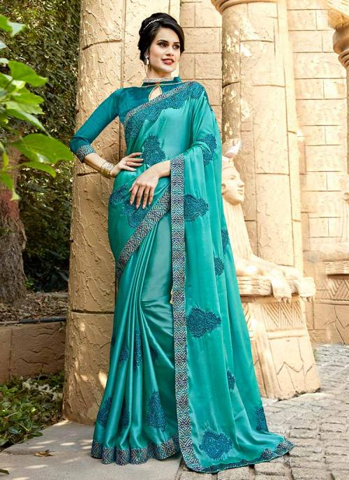 Party Wear Teal Georgette Embroidery Work Saree