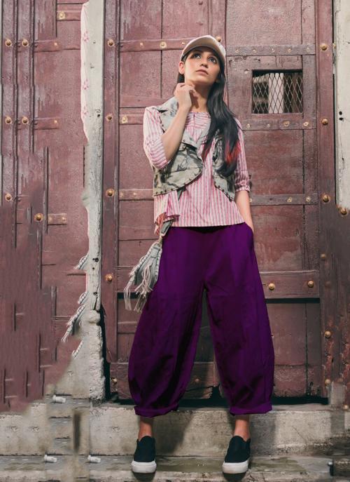 Party Wear Violet Khadi Patch Work Western Top