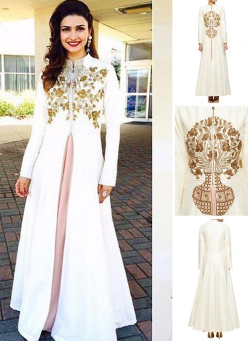 Party Wear White Silk Embroidery Work Prachi Desai Designer Jacket Style Suit