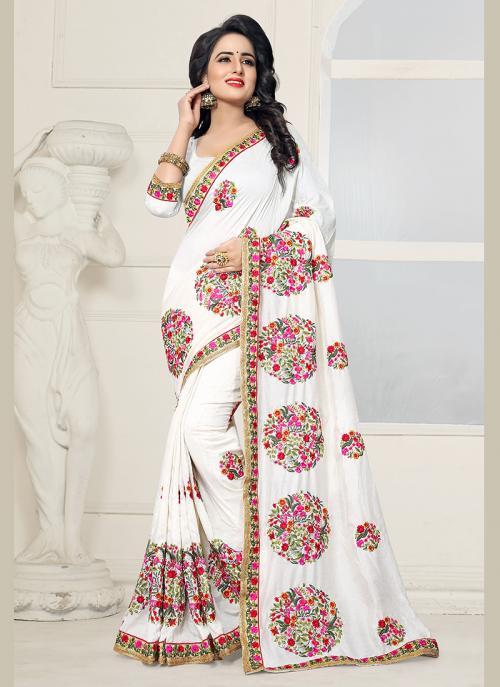 Party Wear White Silk Embroidery Work Saree
