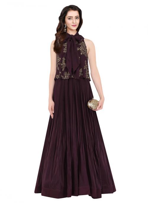 Party Wear Wine Georgette Silk Sequins Work Aashna Behl Designer Dress