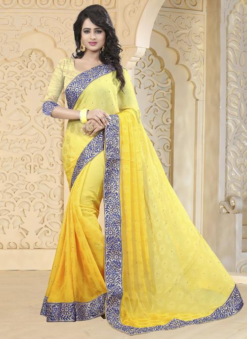 Party Wear Yellow Jacqaurd Embroidery Work Saree
