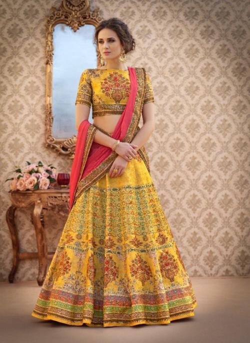 Party Wear Yellow Silk Digital Print Lehenga Choli