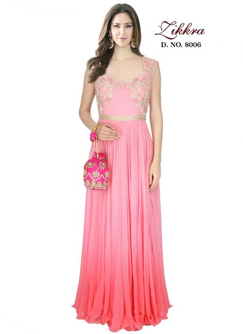 Party Wear Pink Crepe Embroidered Work Gown