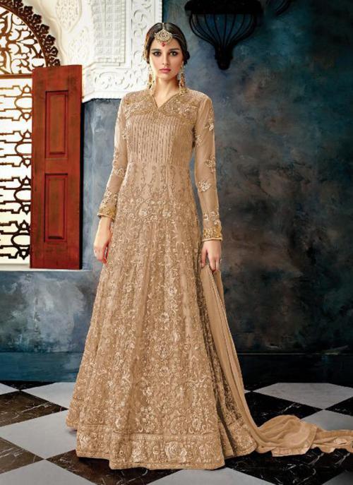 Reception Wear Beige Net Heavy Embroidery Work Anarkali Style