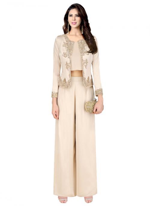 Reception Wear Beige Satin Crepe Embroidery Work Platinoir Designer Jacket Style Crop Top