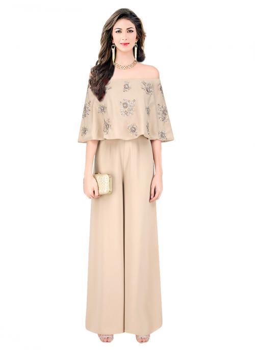 Reception Wear Beige Satin Embroidery Work Designer Jumpsuit