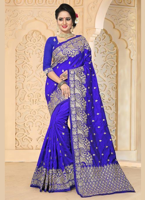 Reception Wear Blue Art Silk Embroidery Work Saree