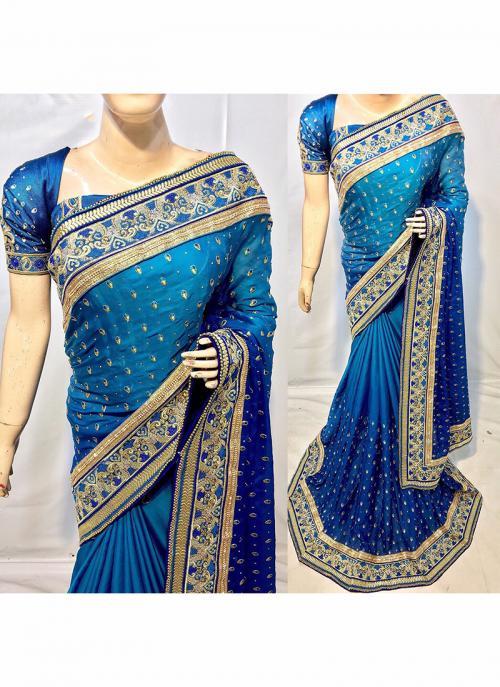 Reception Wear Blue Silk Heavy Embroidery Work Saree