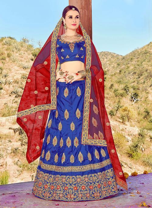 Reception Wear Blue Silk Heavy Multi Embroidery Work Lehenga Choli