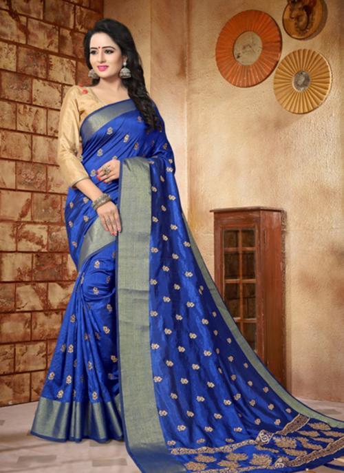 Reception Wear Blue Silk Zari Butti Work Saree