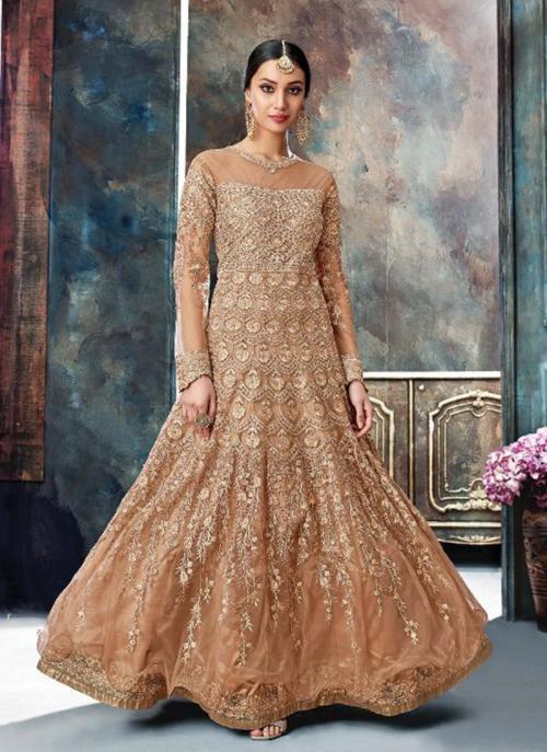 Reception Wear Brown Net Heavy Embroidery Work Anarkali Style