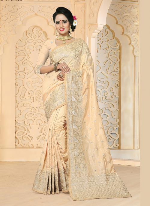 Reception Wear Cream Art Silk Embroidery Work Saree