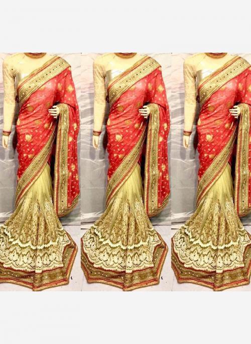 Reception Wear Gajri Net Heavy Embroidery Work Saree