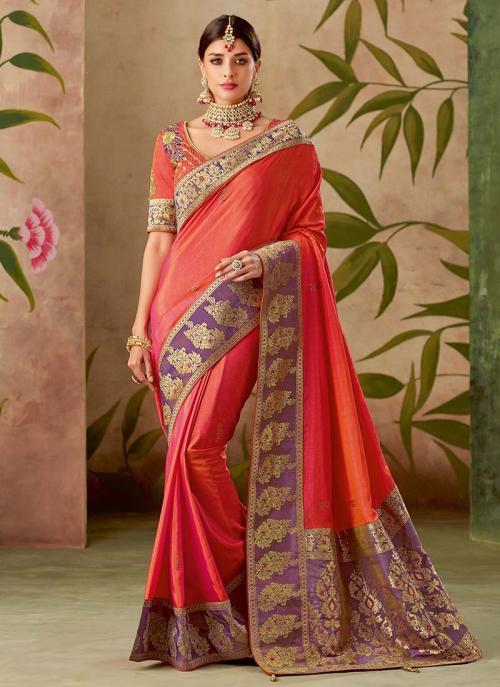Reception Wear Gajri Silk Thread Work Saree