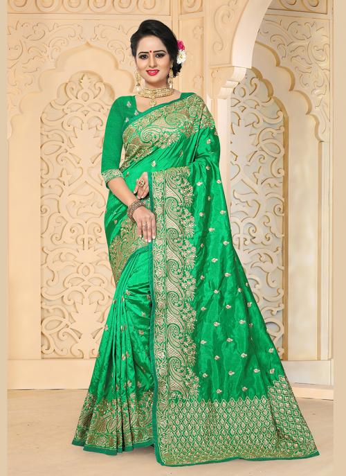 Reception Wear Green Art Silk Embroidery Work Saree