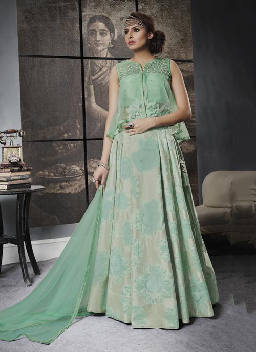 Reception Wear Green Jacqaurd Sequins Work Lehenga Choli