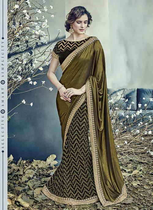 Reception Wear Green Lycra Net Embroidery Work Saree