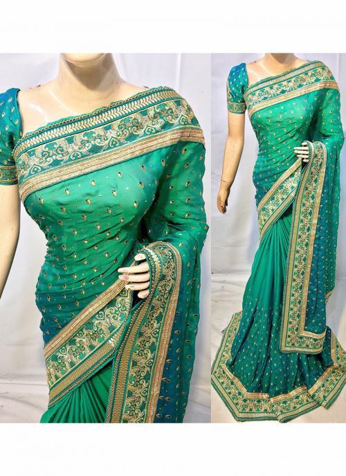 Reception Wear Teal Green Silk Heavy Embroidery Work Saree