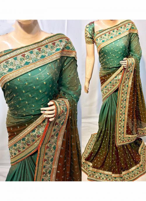 Reception Wear Dark Green Silk Heavy Embroidery Work Saree