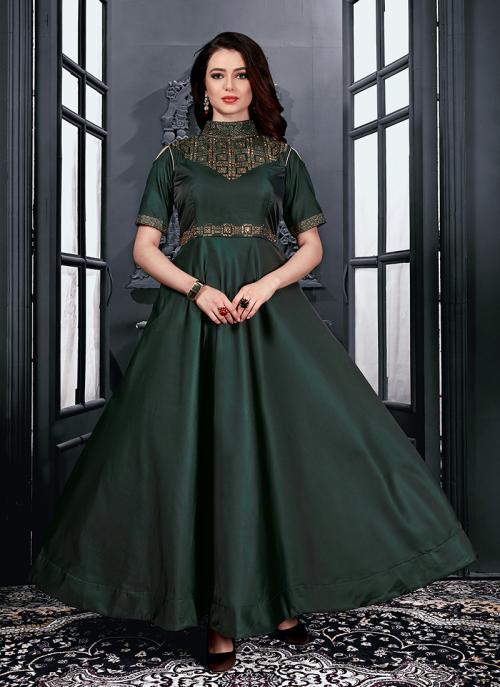 Reception Wear Green Tapeta Satin Hand Work Gown