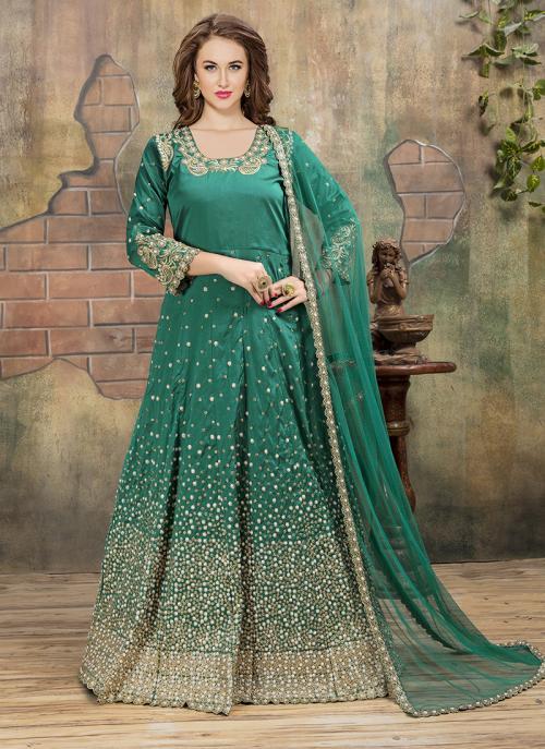 Reception Wear Green Tapeta Silk Heavy Embroidery Work Anarkali Style