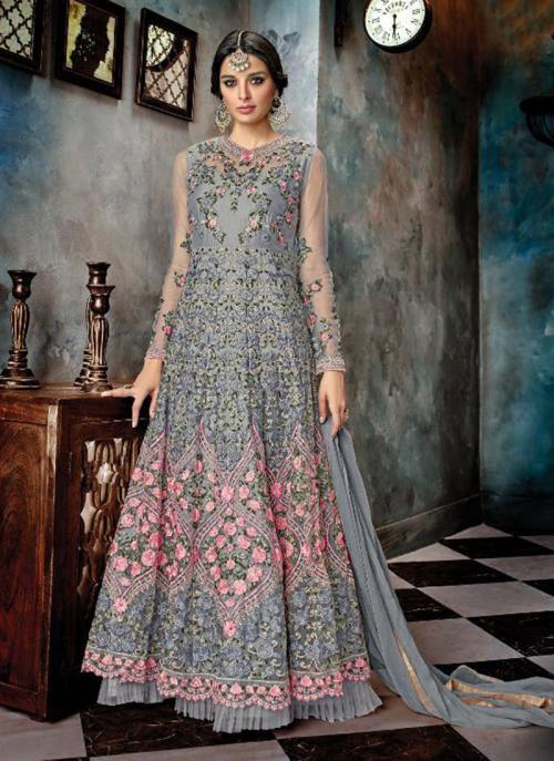 Reception Wear Grey Net Heavy Embroidery Work Anarkali Style