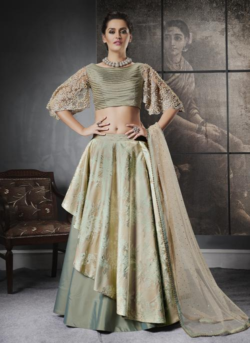 Reception Wear Light Green Jacqaurd Sequins Work Lehenga Choli