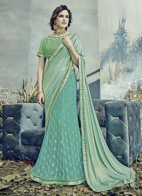Reception Wear Light Green Lycra Net Embroidery Work Saree