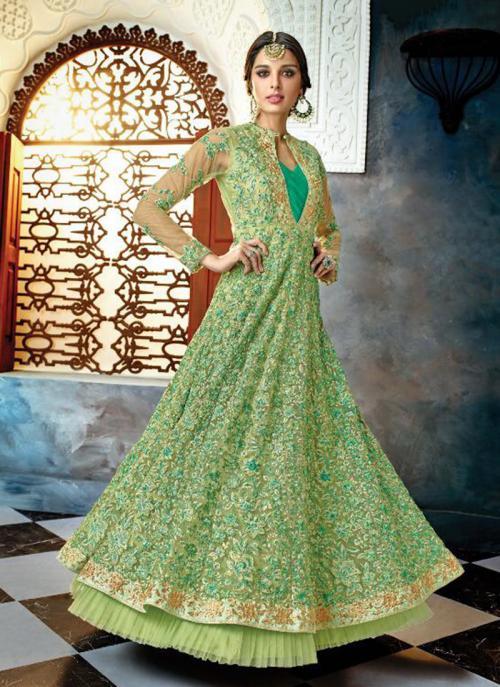 Reception Wear Light Green Net Heavy Embroidery Work Anarkali Style