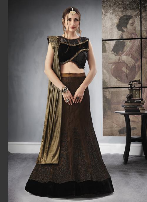 Reception Wear Maroon Jacqaurd Sequins Work Lehenga Choli