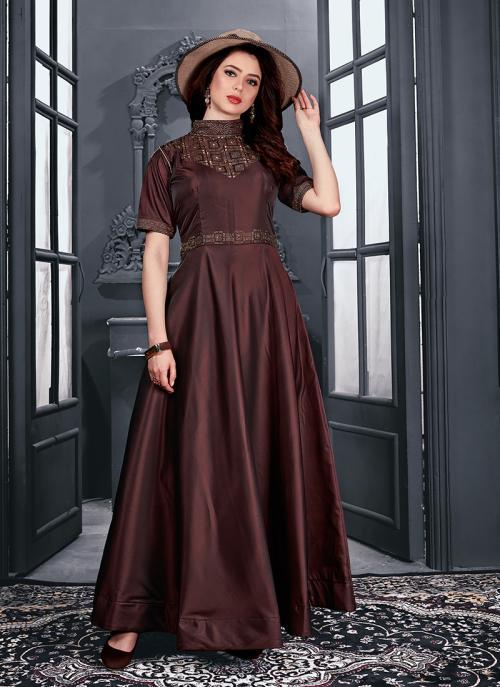Reception Wear Maroon Tapeta Satin Hand Work Gown