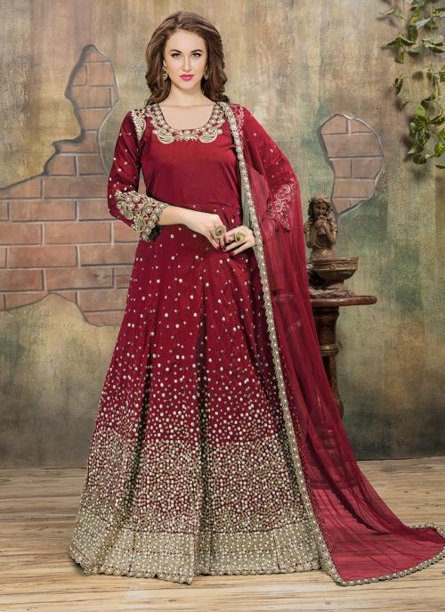 Reception Wear Maroon Tapeta Silk Heavy Embroidery Work Anarkali Style