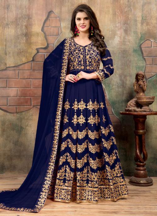 Reception Wear Navy Blue Faux Georgette Heavy Embroidery Work Anarkali Style
