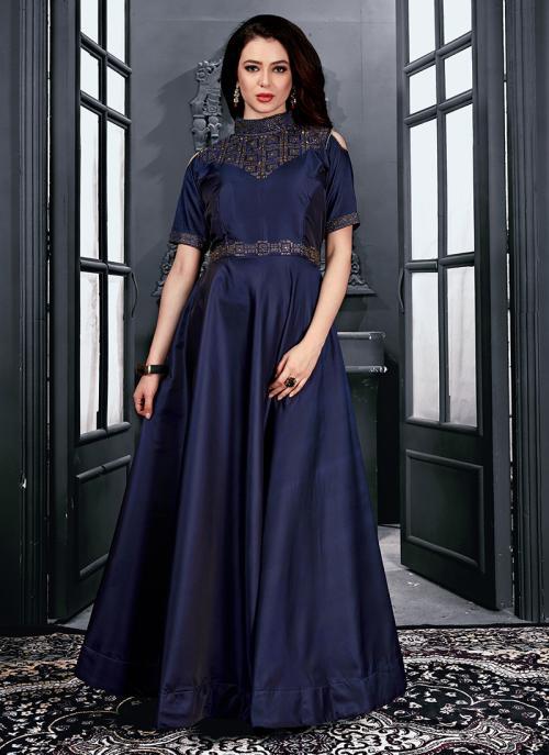 Reception Wear Navy Blue Tapeta Satin Hand Work Gown